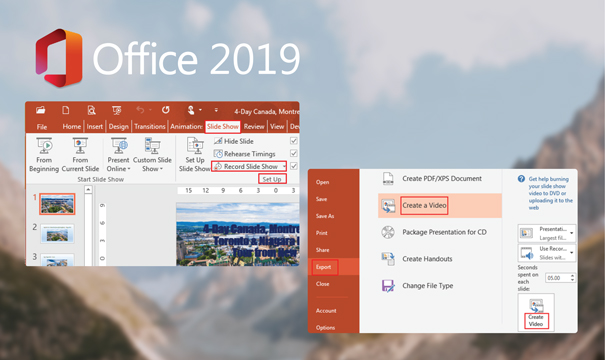 HD Recordings are now possible to insert in PowerPoint 2019