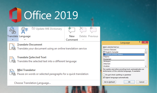 Language detection and easier reading with Word 2019